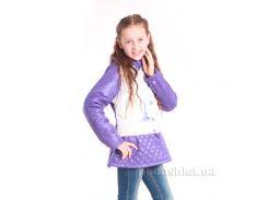Курточка-трансформер для девочки Димакс КуД 58 бежево-фиолетовая 152