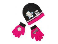 Шапка и перчатки Барби Disney (Arditex) черные с розовым BR9887 black-54 54