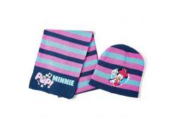 Шапка и шарф Минни Маус Disney (Arditex) розовая полоска WD9757 pink 50-52