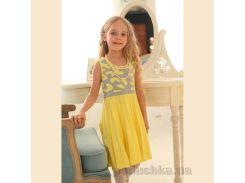 Платье трикотажное для девочки ОТМ Дизайн 4122 серо-желтое 98