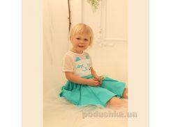 Платье Котик трикотажное для девочки ОТМ Дизайн 4126 бирюзовое 98