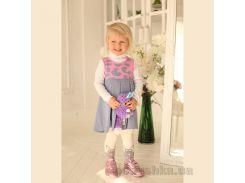 Сарафан трикотажный для девочки ОТМ Дизайн 4121 джинс-розовый 98