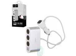 АЗУ HOCO Z13 (3 порта+2USB/2.1A+LCD) серебристый