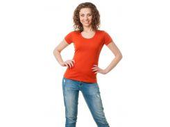 Футболка женская с круглой горловиной темно-оранжевый