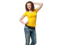 Футболка женская с V-образной горловиной желтая