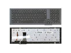 Клавиатура Asus (G75V, G75W) с подсветкой (Light), Black, (Gray Frame) RU (вертикальный энтер)