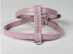 Шлейка для кошек и мелких собак со стразами розовая 12мм А-30, В-34