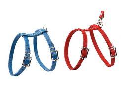 Шлейка для кошек и мелких собак со стразами красная 12мм А-30, В-34