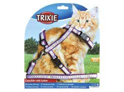 Trixie (Трикси) Шлейка с поводком для кошек с рисунком, нейлон XL 34-57см*13ммм