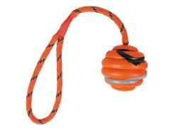 Trixie (Трикси) Игрушка для собак мяч ребристый на веревке с ручкой, каучук 6см*30см