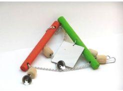 ЛОРИ Игрушка для птиц подвеска двойная с зеркальцем и звоночком