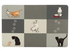 Trixie (Трикси) Коврик под миски серый для кошек Patchwork 44*28см