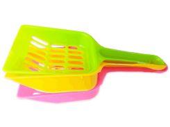 Лопатка для кошачьего туалета пластиковая цветная 20*9см