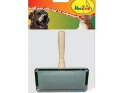 UniZoo (УНИ) Пуходерка для собак с металлическими зубьями, деревянная ручка S 6*4*1