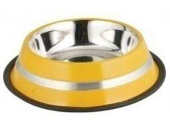 Миска металлическая на резинке для собак и кошек цветная полоса 675мл*23см