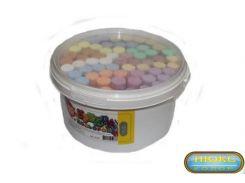 асфальтный цветной круглый мел Ведро 60 шт. пластиковая упаковка с ручкой Люкс Колор В-60 20*100мм