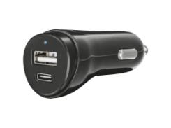 авто зарядка для смартфона trust urban usb a и type c charger 17w (21588)