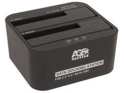 зарядное устройство док станция usb3.0 agestar 3ubt6-6g black 2 слота черное