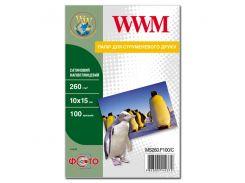 фотобумага wwm сатиновая полуглянцевая 260г/м кв, 10см x 15см, 100л (ms260.f100/c)