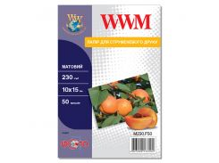фотобумага wwm матовая 230г/м кв 10см x 15см 50 листов (m230.f50)
