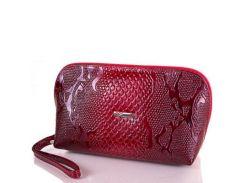 Женская кожаная косметичка desisan shi064-1lak красный лак под кожу змеи
