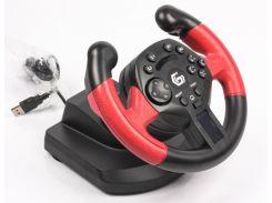 Игровой руль с педалями gembird str-uv-01 двойная вибрация, ощущение реальной гонки multi-интерфейс 2-в-1