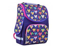 школьный каркасный рюкзак 1 Вересня smart pg-11 hearts blue (554438)