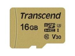 карта памяти transcend microsdhc 500s 16 Гб uhs-i u3 с адаптером (ts16gusd500s)