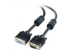 удлинитель cablexpert cc-ppvgax-10b premium vga, hd15m /hd15f,двойное экранир, с 2-мя ферит, 3м, черный