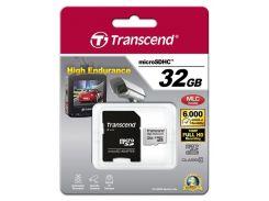 карта памяти transcend microsdhc 32 Гб класс 10 high endurance + адаптер (ts32gusdhc10v)