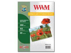 Фотобумага wwm  шелковисто - матовая 260г/м кв, a3, 20л (sm260.a3.20)