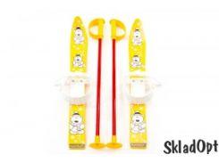 Лыжи с палками Marmat детские пласт., длина-70см желтый