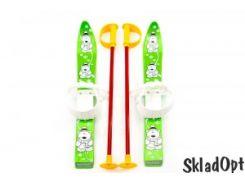 Лыжи с палками Marmat детские пласт., длина-70см зеленый