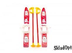 Лыжи с палками Marmat детские пласт., длина-70см красный