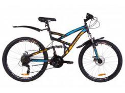 """Велосипед 26"""" Discovery CANYON AM2 14G DD рама-19"""" St черно-синий с оранжевым (м) с крылом Pl 2019"""