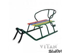 санки БАЛУ зелёный лак, цветные планки ТМ Vitan