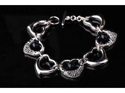 Серебряный родированный браслет с сердечками  (фианит, оникс)