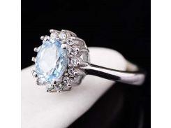 Кольцо (голубой топаз, фианиты)