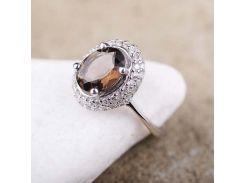 Кольцо (дымчатый кварц, фианиты)