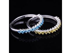 Серебряное кольцо (фианиты голубые)