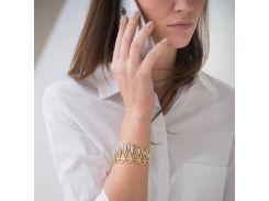 Женский браслет из желтого золота с фианитами
