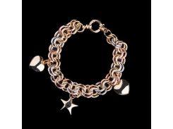 Золотой браслет с звездой и сердцами