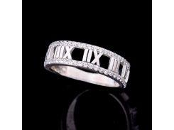Эксклюзивное серебряное кольцо с фианитами (родий)