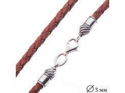 Кожаный коричневый шнурок с серебряной застежкой (3мм)
