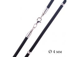 Каучуковый шнурок с гладкой серебряной застежкой и вставками из серебра (4мм)