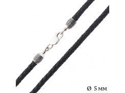 Кожаный шнурок с серебряной вставкой