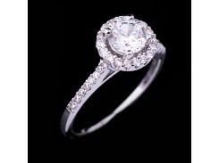 Серебряное кольцо с фианитами (родий)