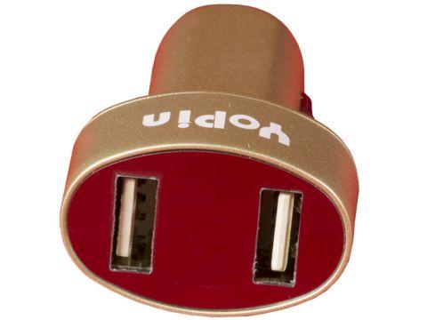 Мощное автомобильное зарядное устройство Yopin CC-017 USBx2 (2.1А/1А) шампань для смартфона навигатора
