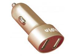 Портативное автомобильное зарядное устройство Yopin CC-017 USBx2 (2.1А/1А) розовое золото смартфона навигатора