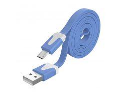 ☀Кабель USB 2.0 лапша microUSB/USB 1m Синий для смартфона компьютера